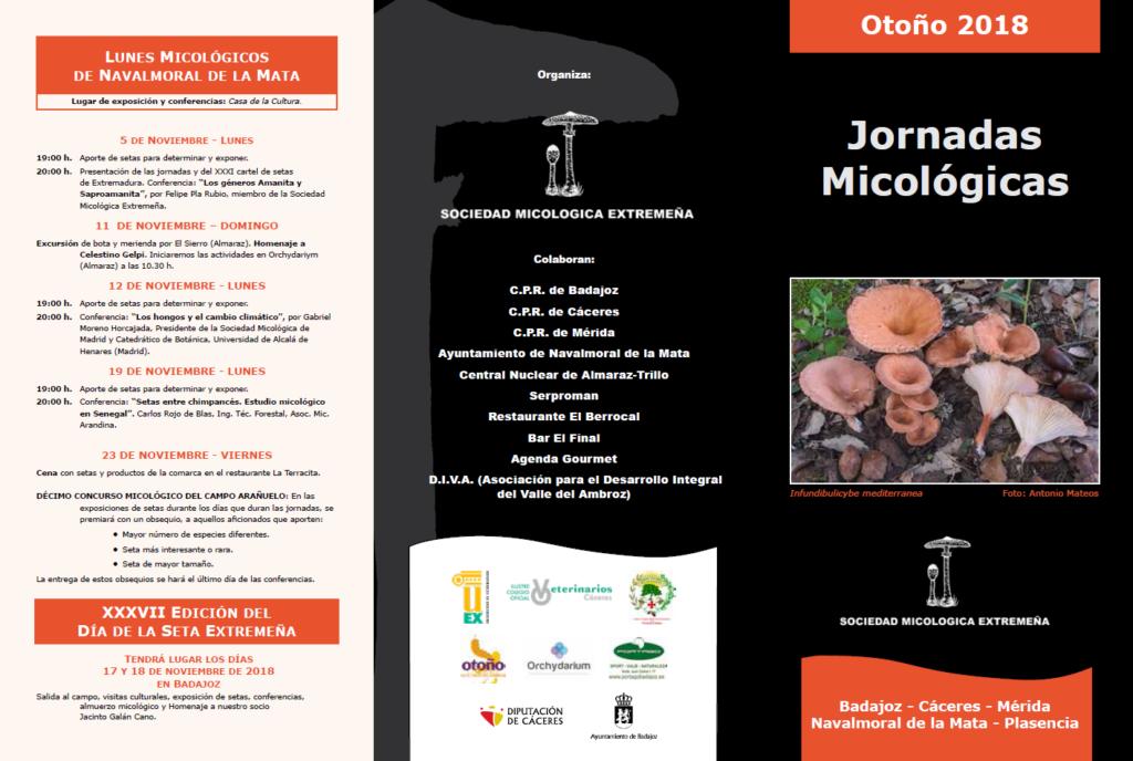 Tríptico Jornadas micológicas Otoño 2018