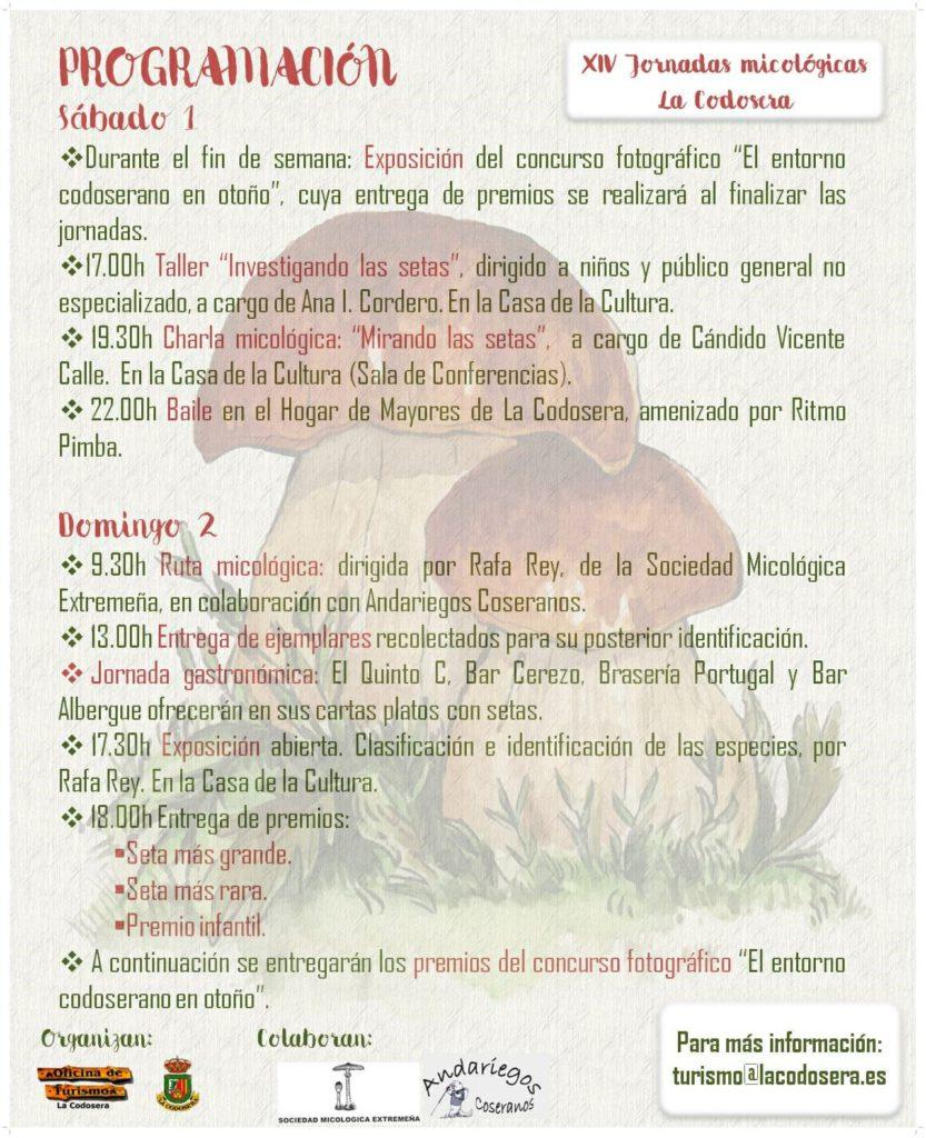 Programación XIV Jornadas Micológicas - La Codosera - 1 y 2 de diciembre